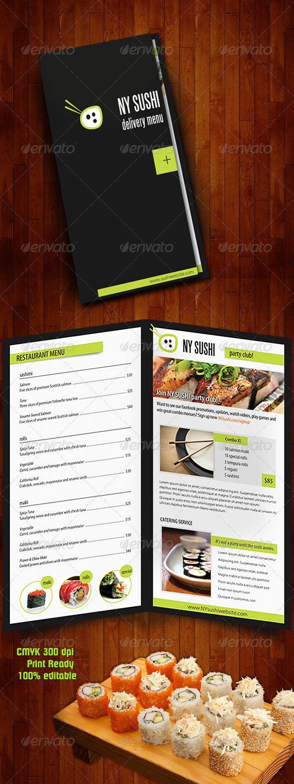 Sushi Menu Catering Food Brochure - Food Menus Print Templates