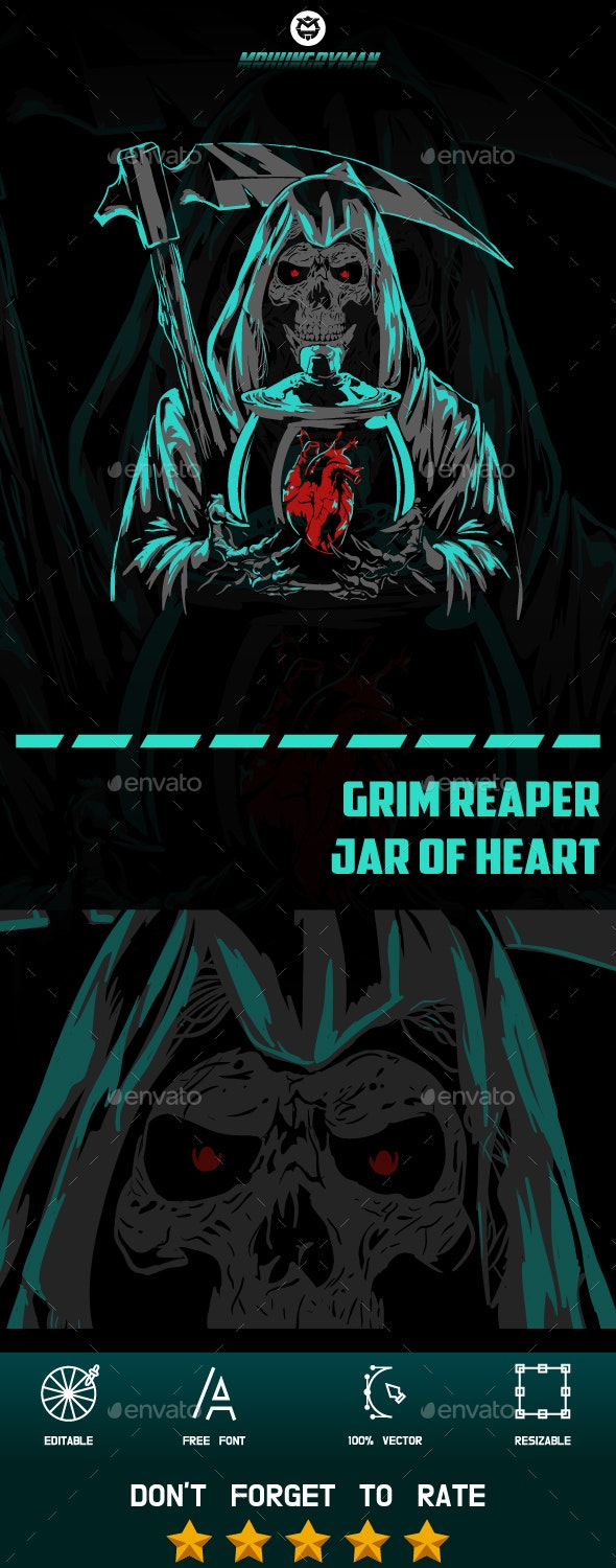 Grim Reaper With a Jar of Heart - People Characters