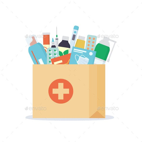 Paper Bag with Medicines, Drugs, Pills and Bottles