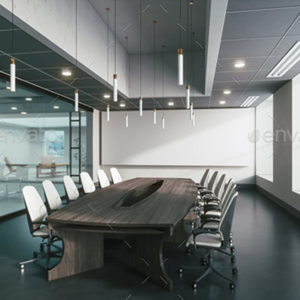 Meeting room with glass wall