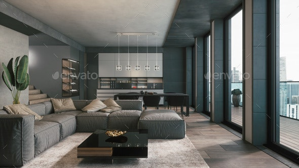 Modern Living Room With Kitchen By, Living Room W