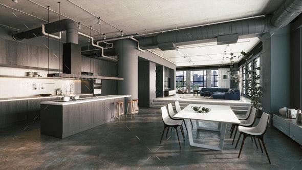 Modern Kitchen Studio - Architecture 3D Renders
