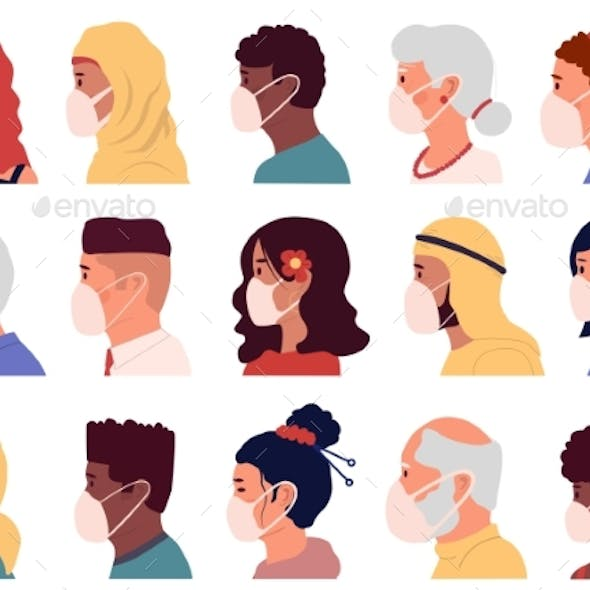 People in Mask Avatars. Cartoon Profile Portraits