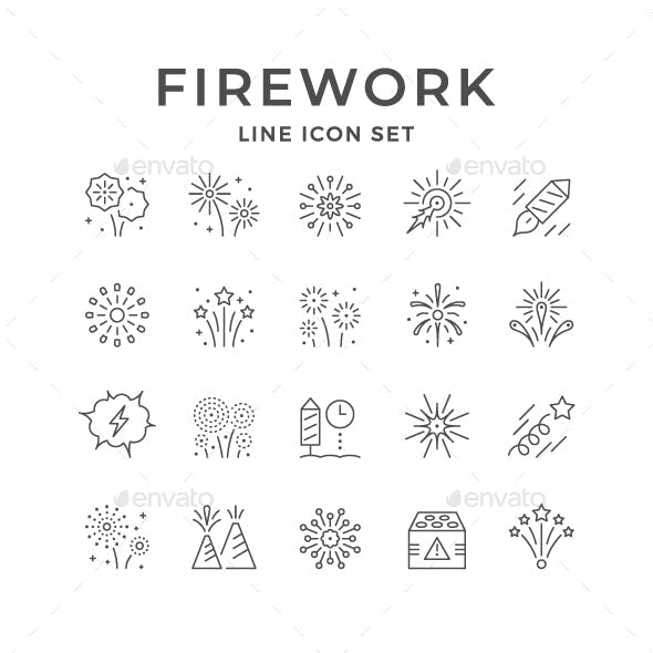 Set Line Icons of Firework