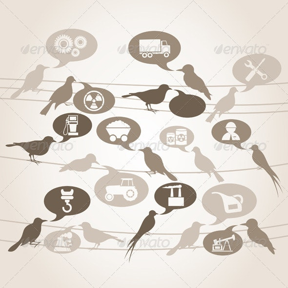 Birds about the industry - Animals Characters