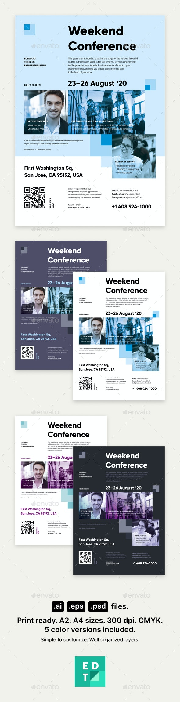 Weekend Conference Poster Template - Corporate Flyers