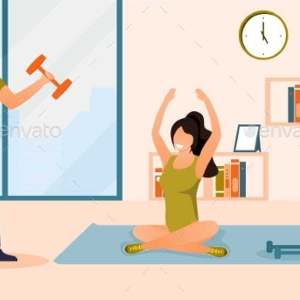 Man and Awoman, Doing Sports Exercises