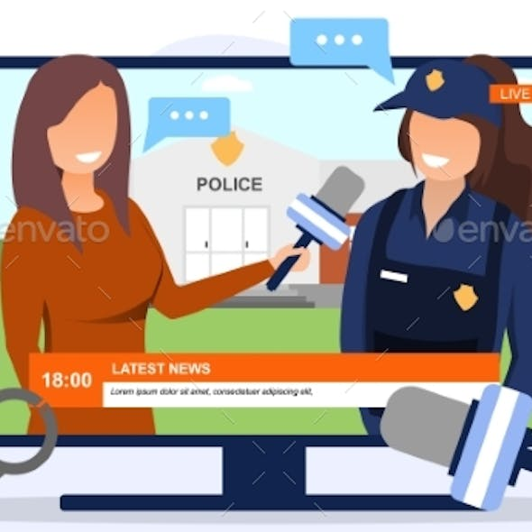 A Policewoman Communicating with a Journalist