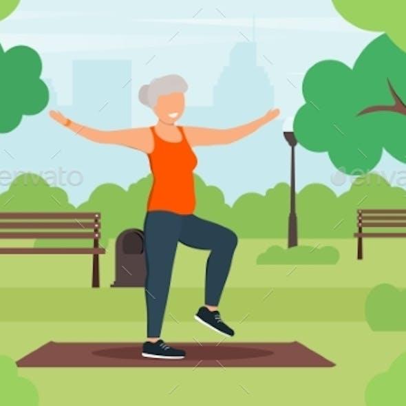 Yoga with Elderly Woman