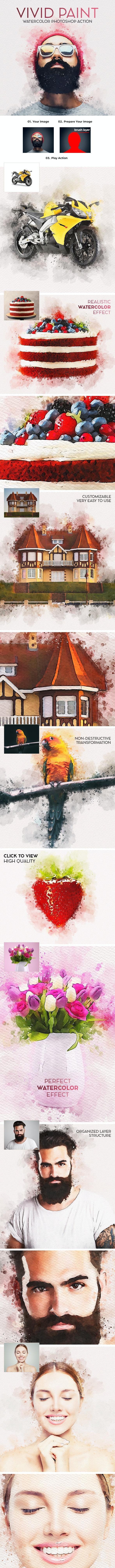 Vivid Paint - Watercolor Photoshop Action - Photo Effects Actions