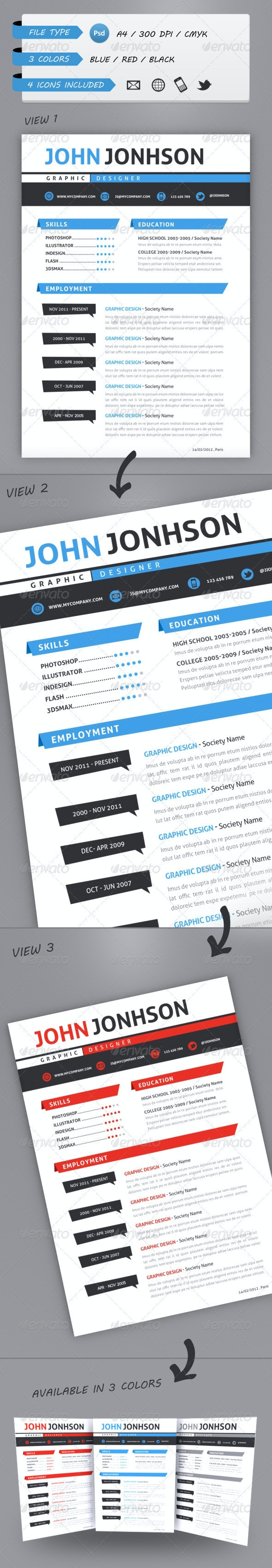 Professional Resume Template A4 - Resumes Stationery