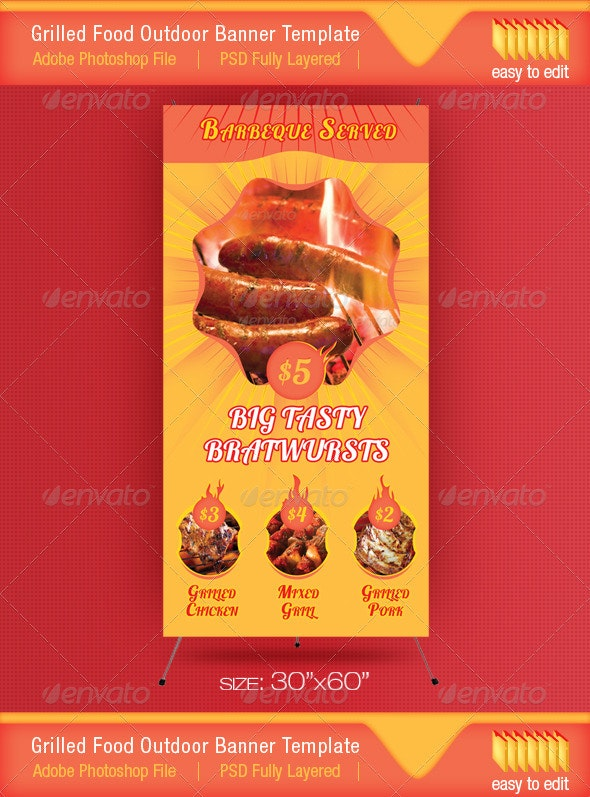 Barbeque Served Food Outdoor Banner Template - Signage Print Templates