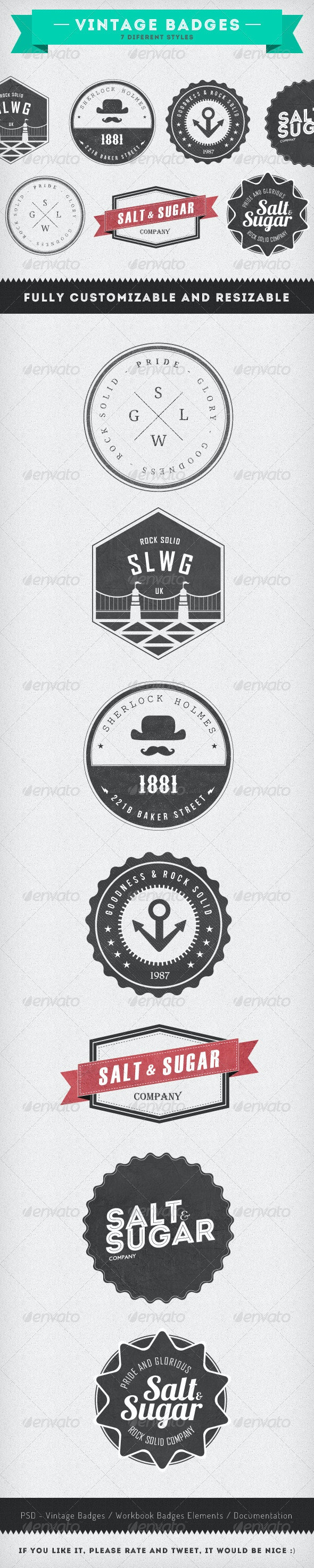 Vintage Badges - 7 Diferent Styles - Badges & Stickers Web Elements
