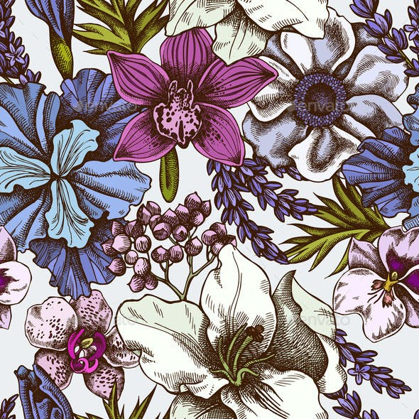 Seamless Pattern with Hand Drawn Colored Anemone