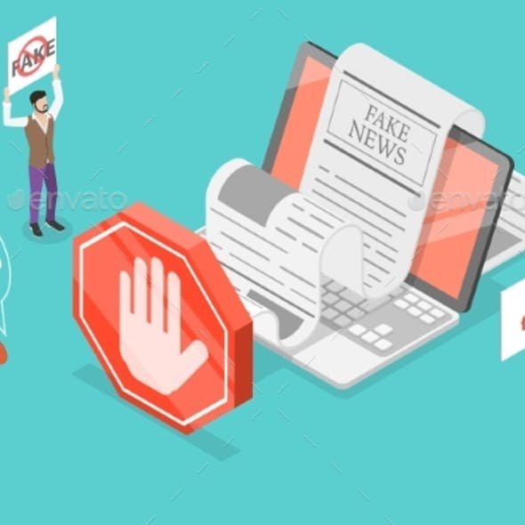 Stop Fake News 3D Isometric Vector Conceptual
