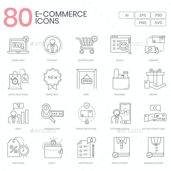 80 E-Commerce Line Icons