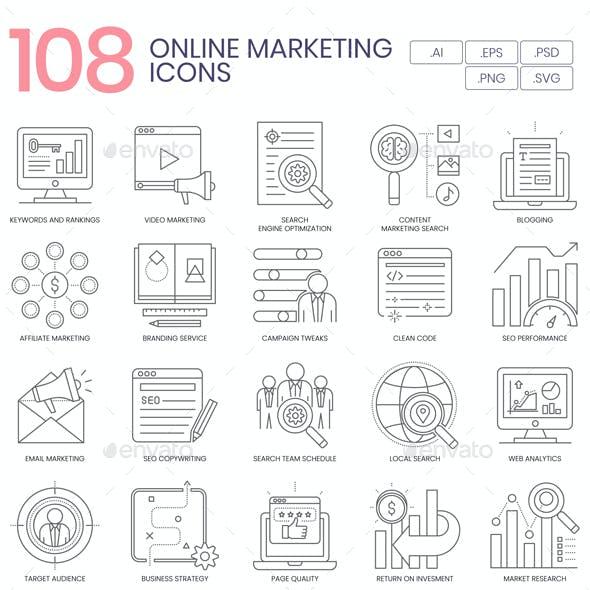108 Online Marketing Line Icons