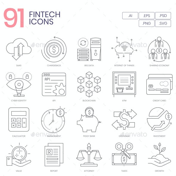 91 Fintech Line Icons