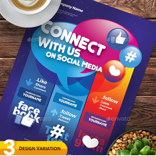 Follow Us on Social Media Flyer Templates