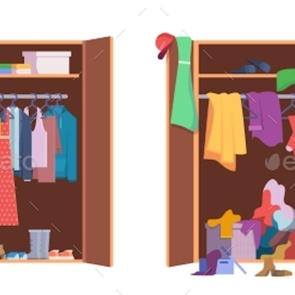 Messy Clothes Wardrobe Modern Interior Storage