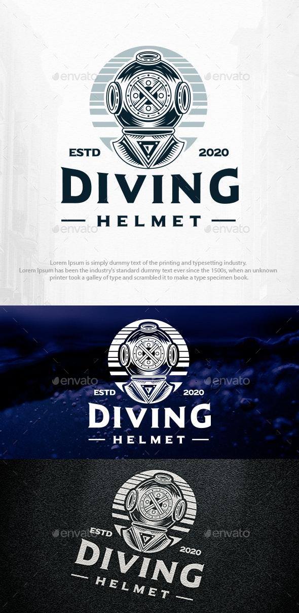 Scuba Diving Vintage Logo Template - Humans Logo Templates