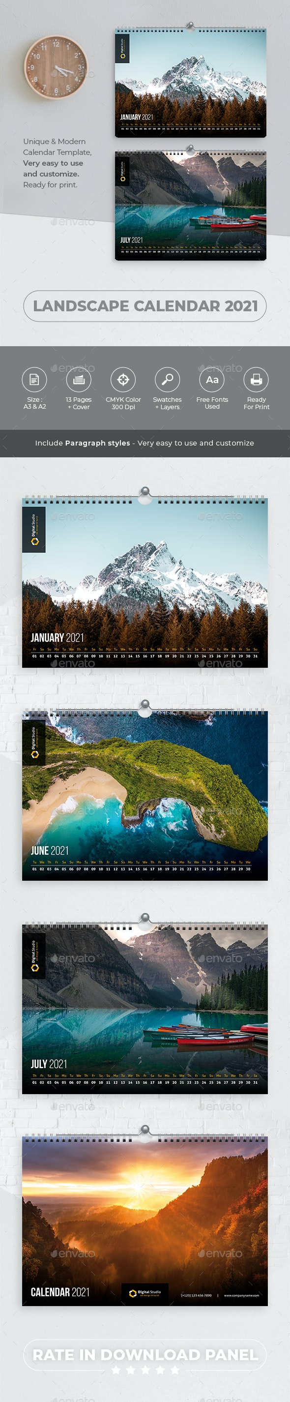 Landscape Calendar 2021 - Calendars Stationery