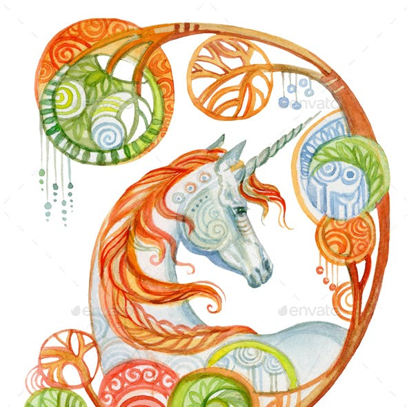 Watercolor unicorn in flowers 2