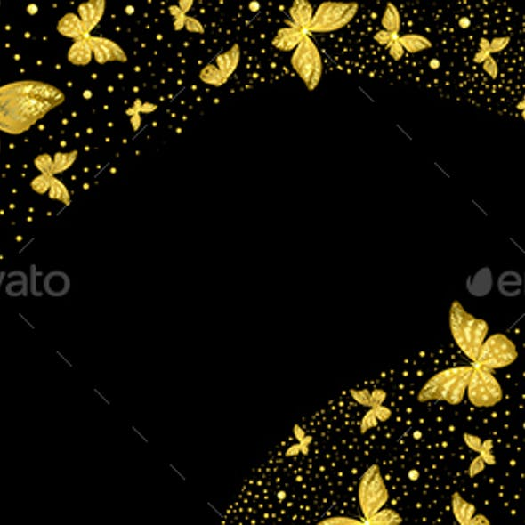 Background with Decorative Golden Butterflies