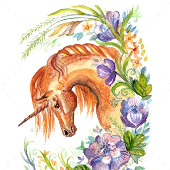 Watercolor unicorn in flowers 6