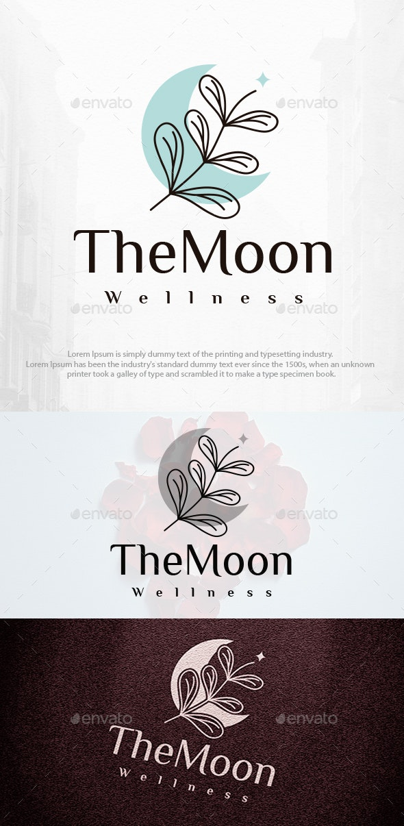 Flowers and Moon Beauty Logo Template - Nature Logo Templates