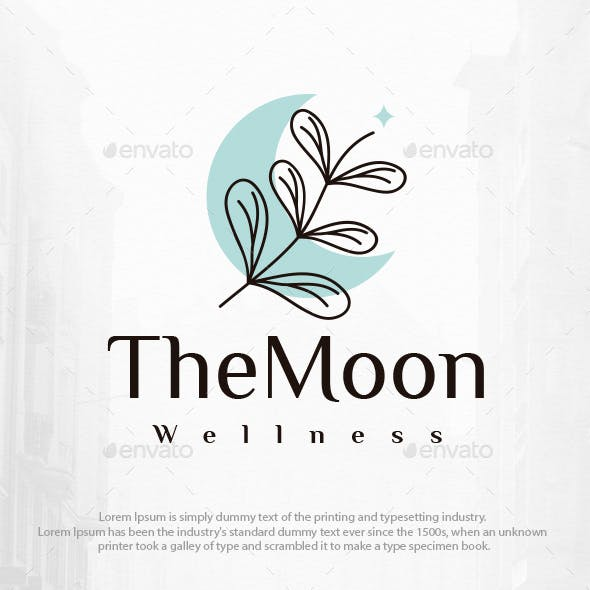 Flowers and Moon Beauty Logo Template