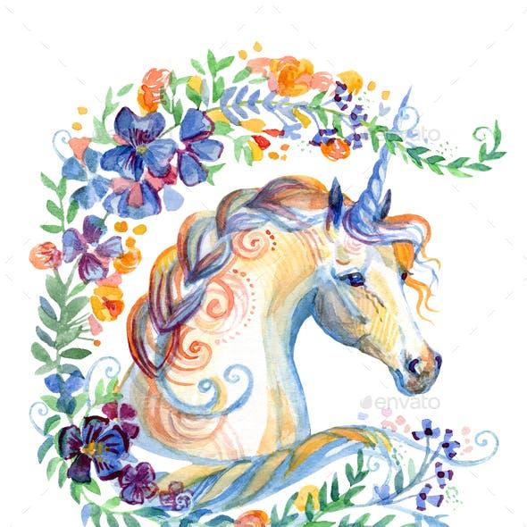 Watercolor unicorn in flowers 7