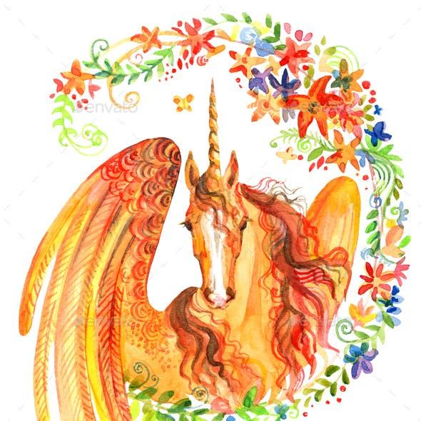Watercolor unicorn in flowers 9