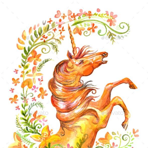 Watercolor unicorn in flowers 10