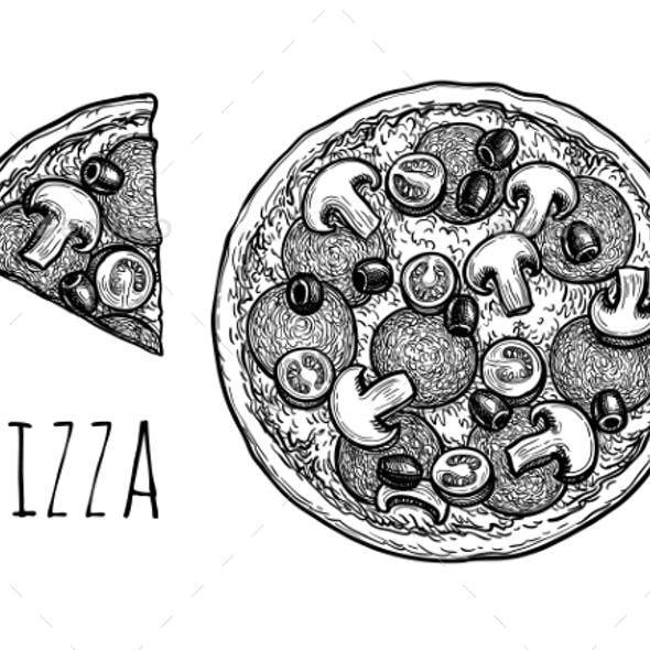 Ink Sketch of Pizza