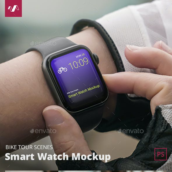 Smart Watch Mockup Bike Tour Scenes
