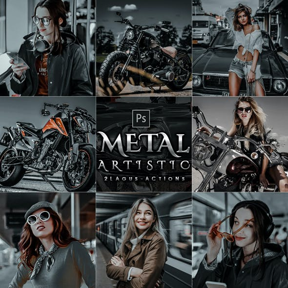 5 Artistic  Metal  Photoshop Actions
