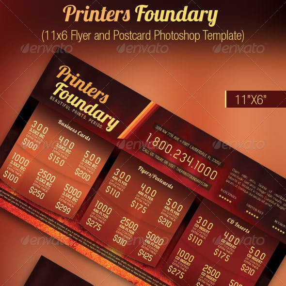 Print Industry Sales Flyer Postcard Template