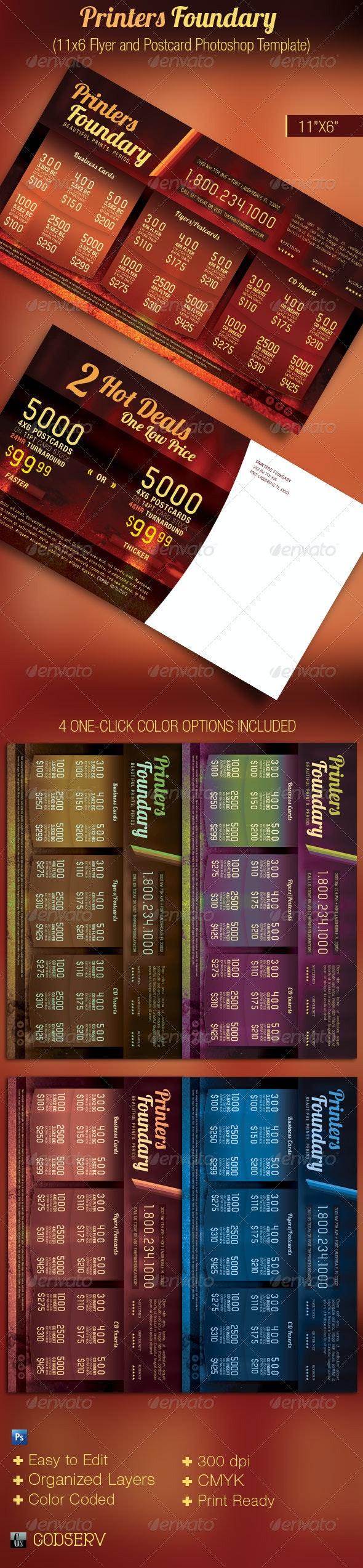 Print Industry Sales Flyer Postcard Template - Commerce Flyers