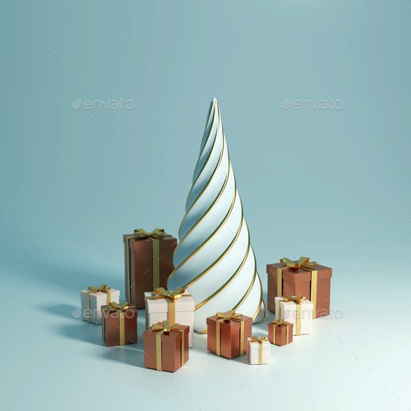 3d Rendering 2021 Year, Christmas Brown and White