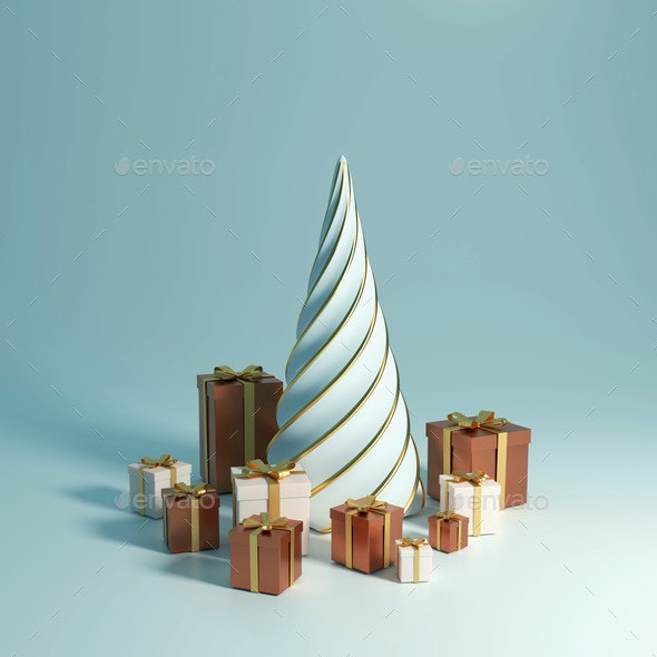 3d Rendering 2021 Year, Christmas Brown and White - Miscellaneous 3D Renders