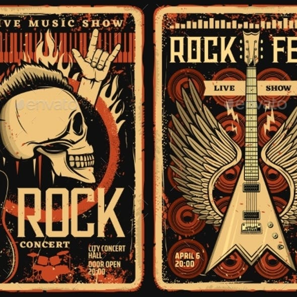 Rock Fest Posters Flyers Concert Music Festival