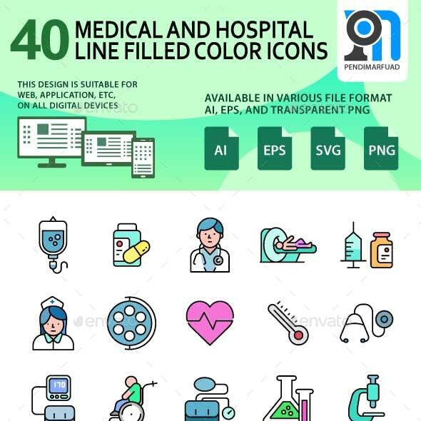 40 Outline filled hospital and medical icon