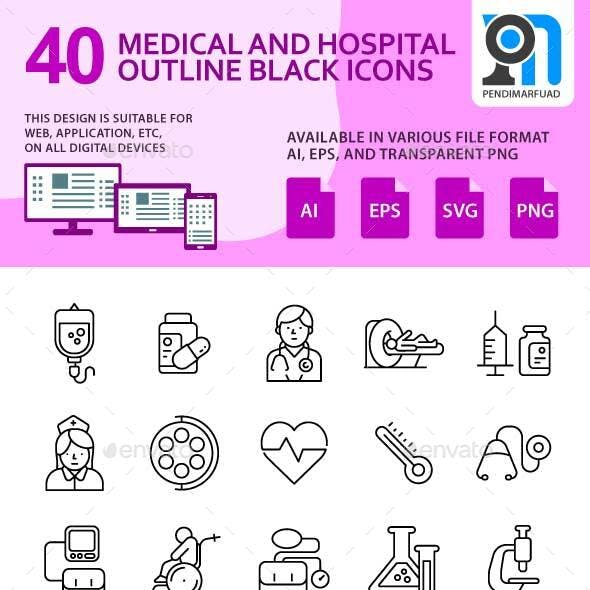 40 Outline black hospital and medical icon