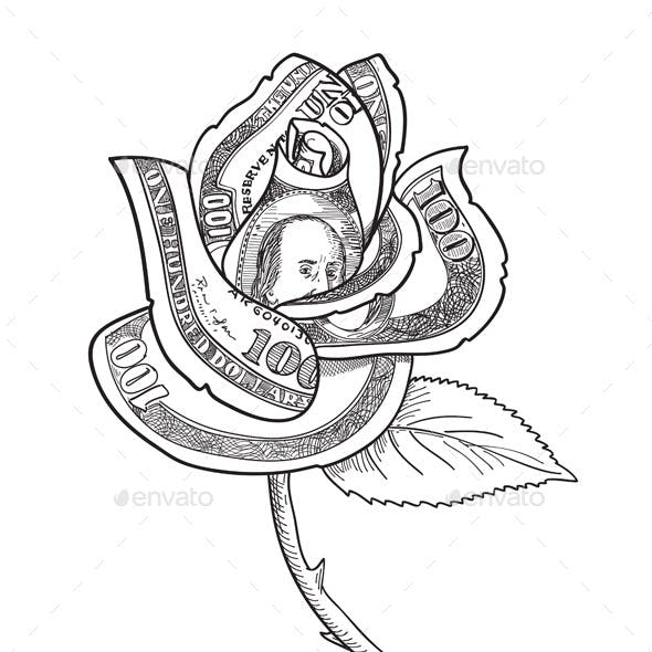 Rose Flower with Money