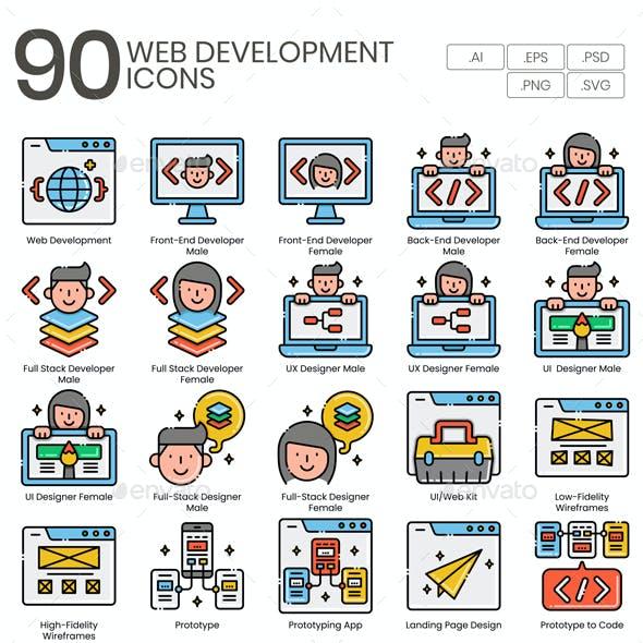 90 Web Development Icons - Aesthetics Series