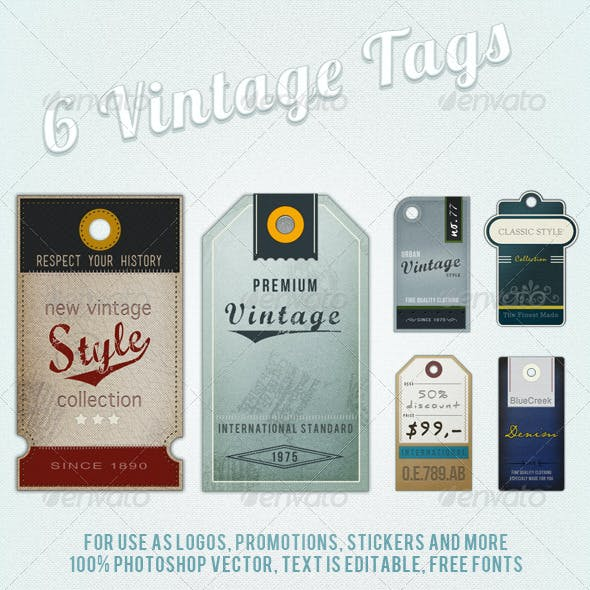6 Retro Vintage Tags and Labels