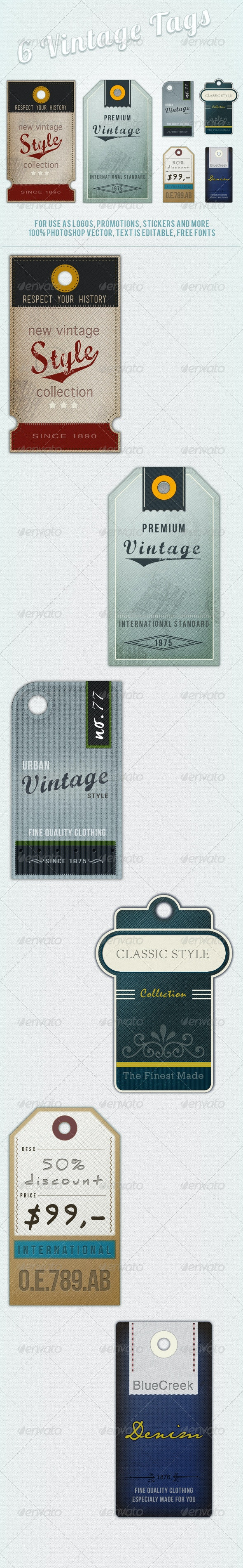 6 Retro Vintage Tags and Labels - Badges & Stickers Web Elements