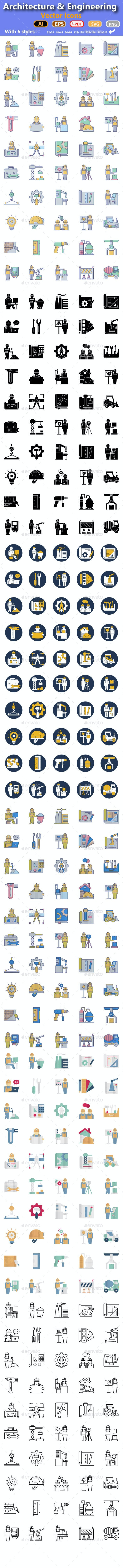 300 Architecture & engineering Vector Icons Set - Icons