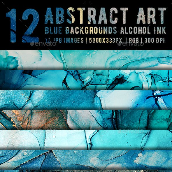 Abstract Art Blue Backgrounds Alcohol Ink